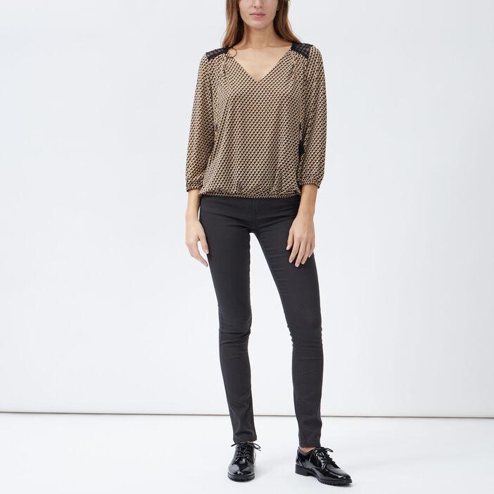 Pantalon skinny taille basse femme gris foncé