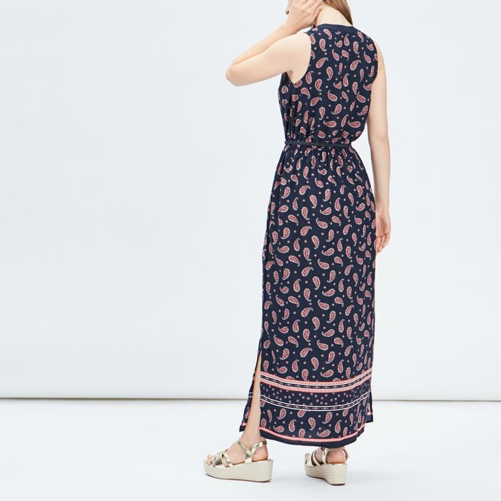Robe longue droite femme bleu marine