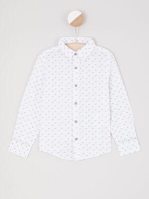Chemise manches longues imprime geometrique blanc garcon