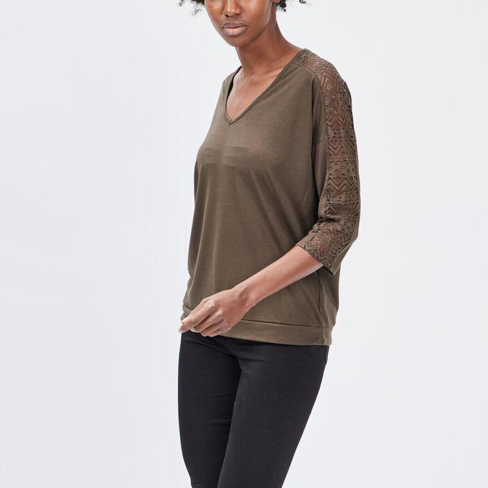 T-shirt manches 3/4 femme vert kaki