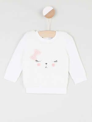 Pull motif place visage animal ecru fille