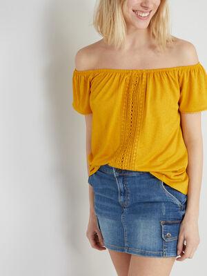 T shirt uni texture avec dentelle jaune moutarde femme