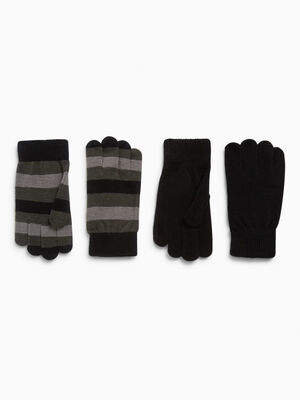 Lot 2 paires gants noir garcon