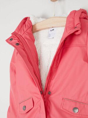 Manteau uni a boutons rose fushia fille