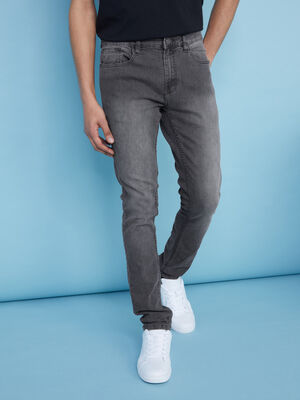 Jean skinny delave gris homme