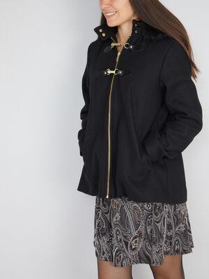 Manteau zippe evase avec capuche noir femme