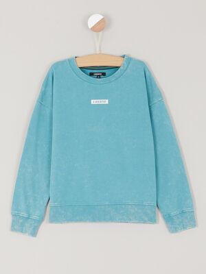 Sweatshirt bleu turquoise garcon
