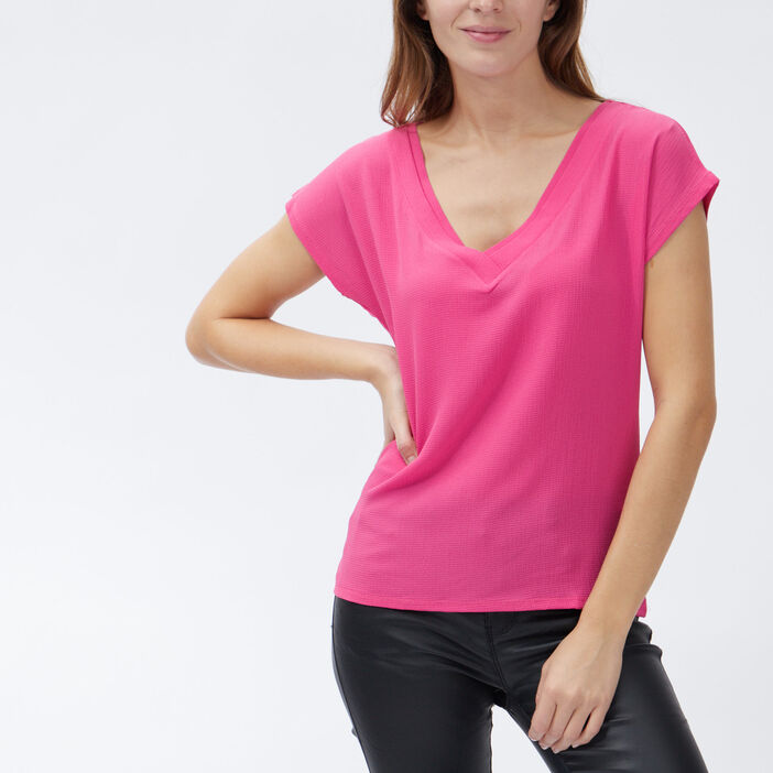 T-shirt manches courtes femme rose fushia