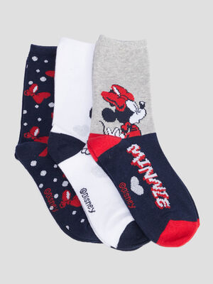 Lot 3 chaussettes Minnie rouge fille