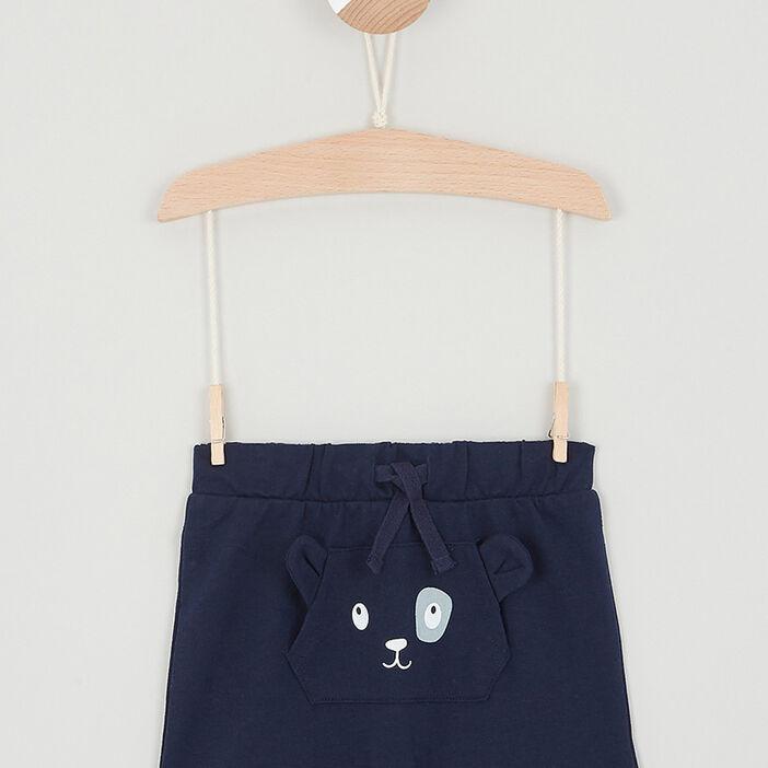 Short uni déco 3D bébé garçon bleu marine