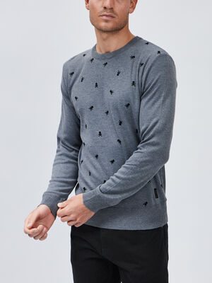 Pull manches longues Liberto gris fonce homme