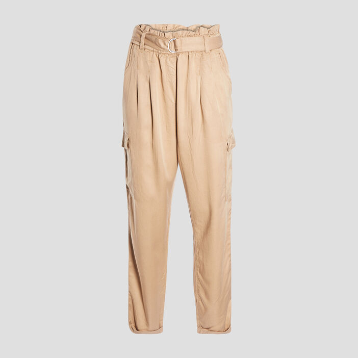 Pantalon battle fluide femme beige