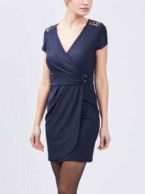 Robe ajustee portefeuille bleu marine femme