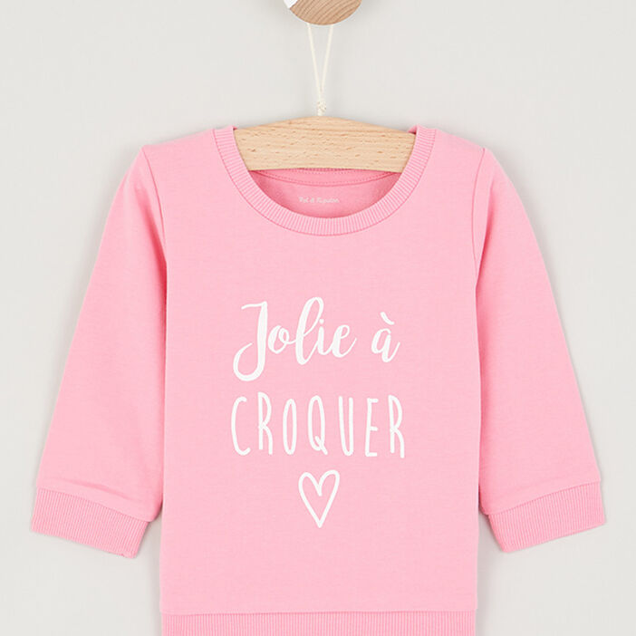 Pull à message fille rose clair