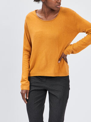 Pull avec col rond jaune moutarde femme