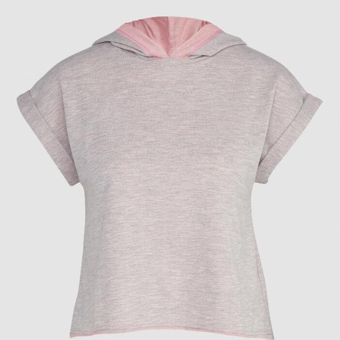 Haut de pyjama T-shirt capuche femme rose clair