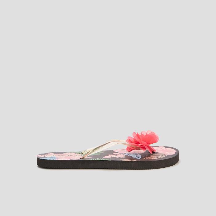 Tongs avec fleurs femme noir