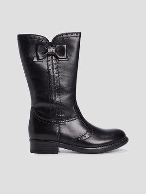 Bottes zippees avec noeuds noir fille