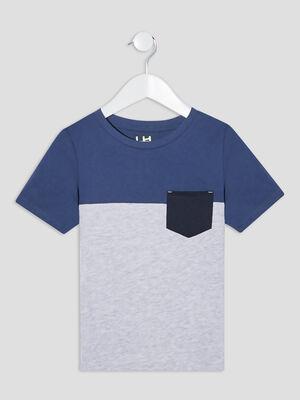 T shirt manches courtes bleu gris garcon