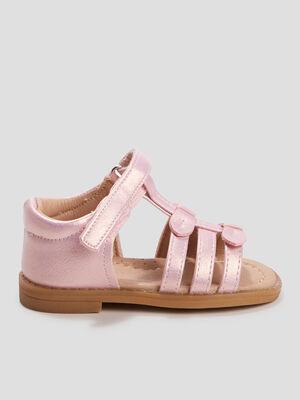 Sandales plates rose bebe