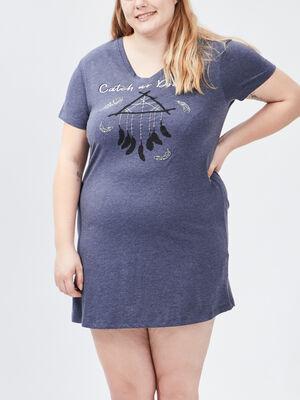 Chemise de nuit grande taille bleu femmegt