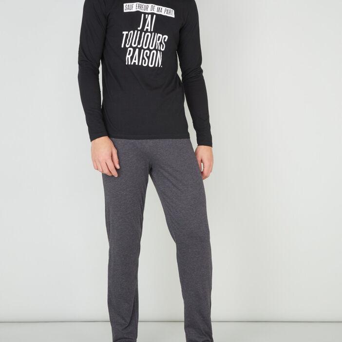 Pyjama coton majoritaire à message homme gris