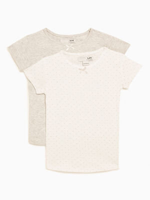 Lot 2 t shirts manches courtes gris fille