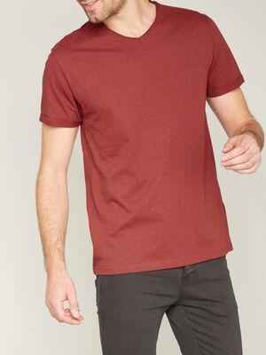 T shirt manches courtes col rond bordeaux homme