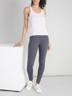 Legging long uni gris fonce femme