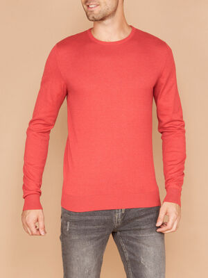 Pull col rond maille unie rouge homme