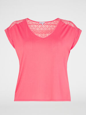 T shirt avec dentelle fantaisie orange corail femme