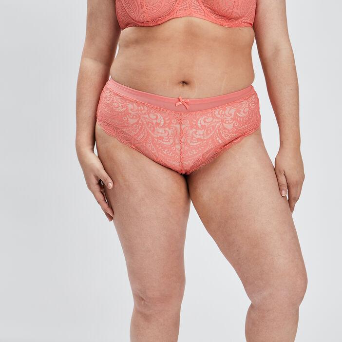 Shorty en dentelle femme grande taille orange corail