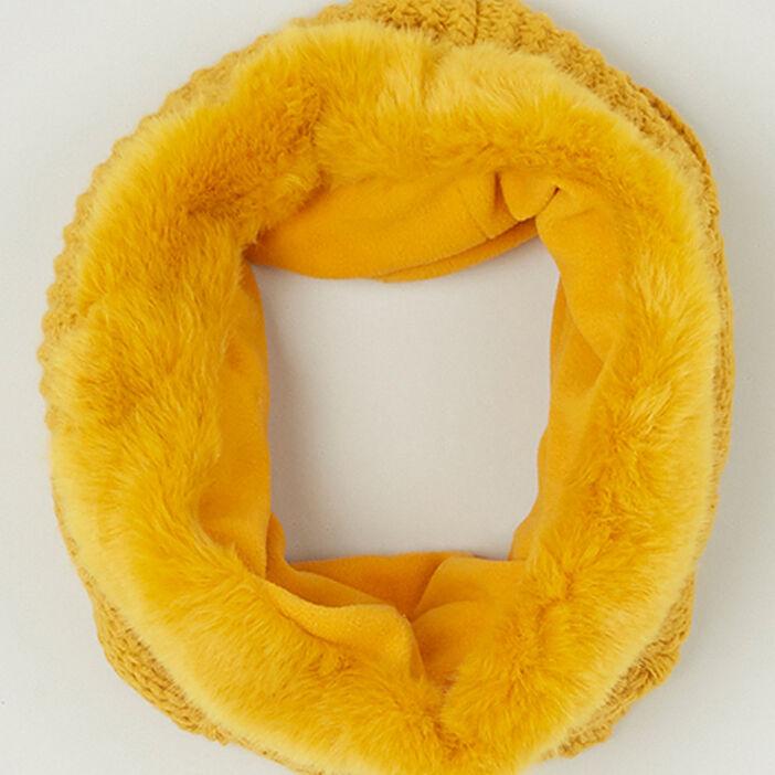 Tour de cou fourrure synthétique fille jaune moutarde