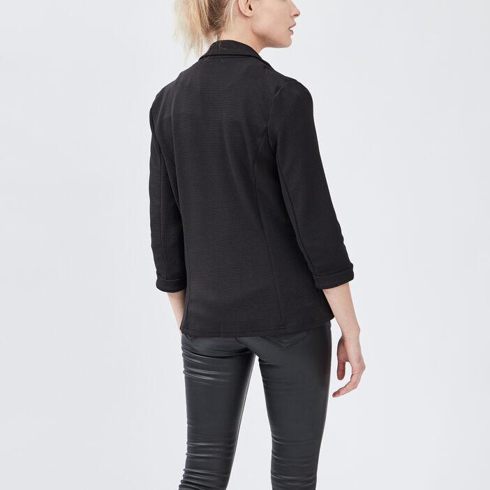Veste droite manches 3/4 femme noir