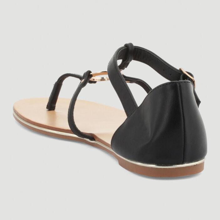 Sandales fines anneau et entredoigt femme noir