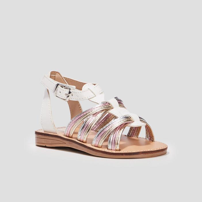 Sandales à brides irisées fille blanc
