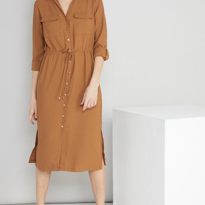 Robe chemise boutonnée femme beige