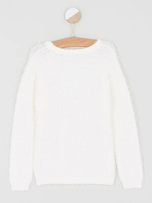 Pull col rond maille ajouree ecru fille