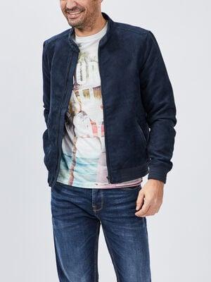Blouson droit zippe bleu marine homme