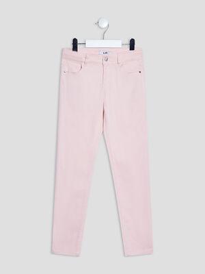 Pantalon droit satin de coton rose fille