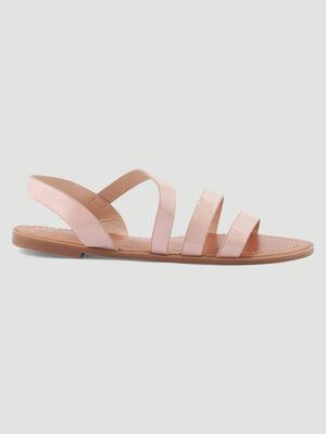 Sandales plates effet python rose femme