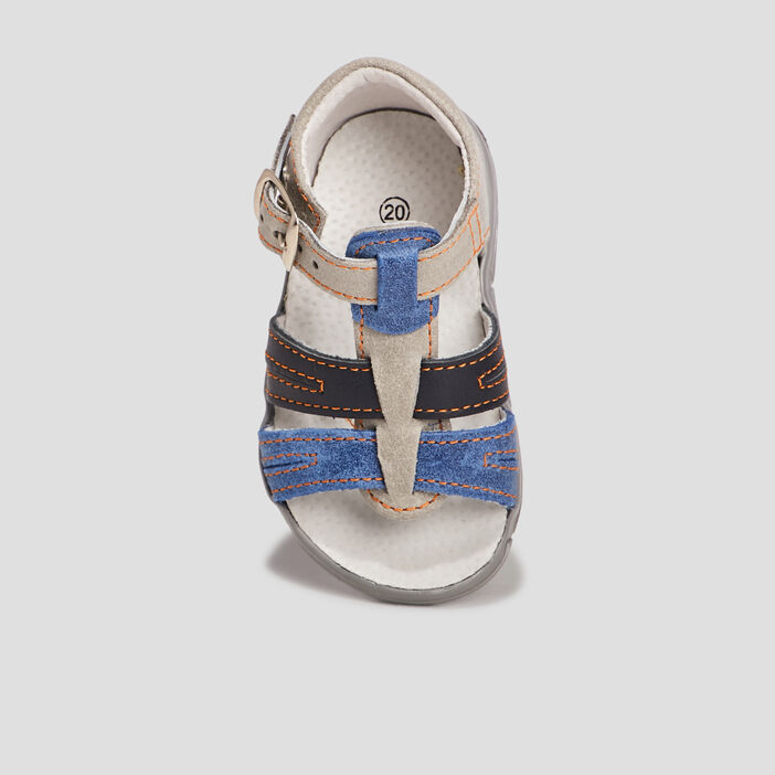 Sandales en cuir bébé garçon gris