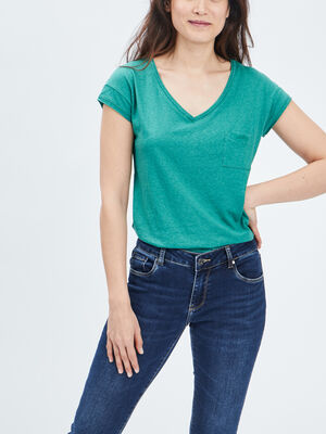 T shirt manches courtes Creeks vert femme