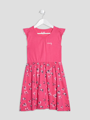 Robe evasee a manches courtes rose fille