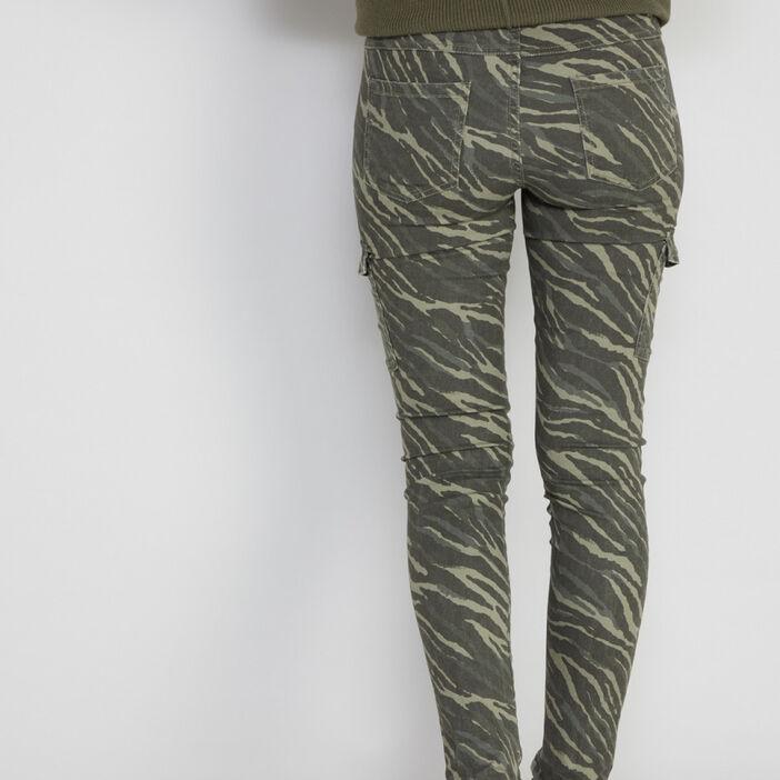 Pantalon imprimé multipoches femme vert kaki