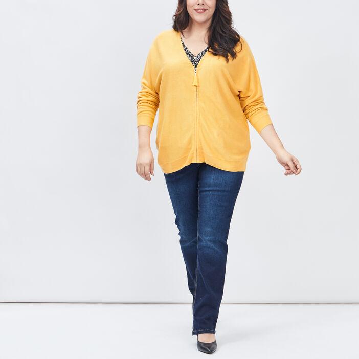 Gilet zippé grande taille femme grande taille jaune moutarde