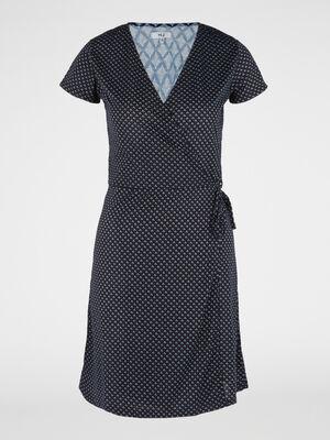 Robe portefeuille manches courtes bleu marine femme
