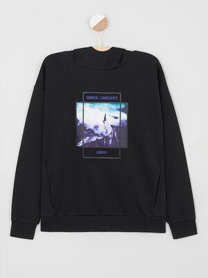 Sweatshirt capuche imprime devant noir garcon