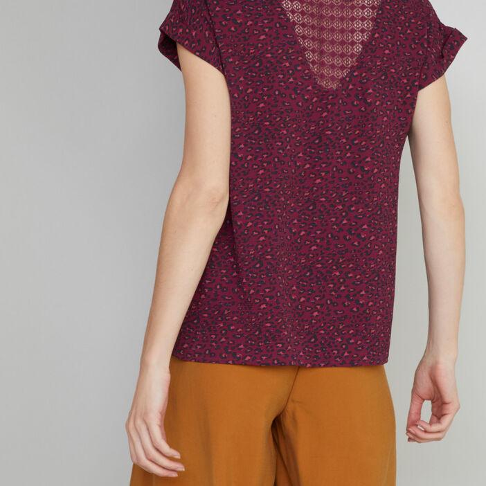 Blouse imprimée avec zip apparent femme prune