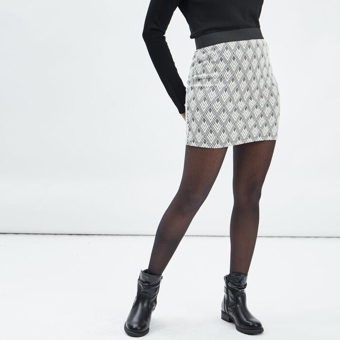 Jupe droite taille élastiquée femme ecru
